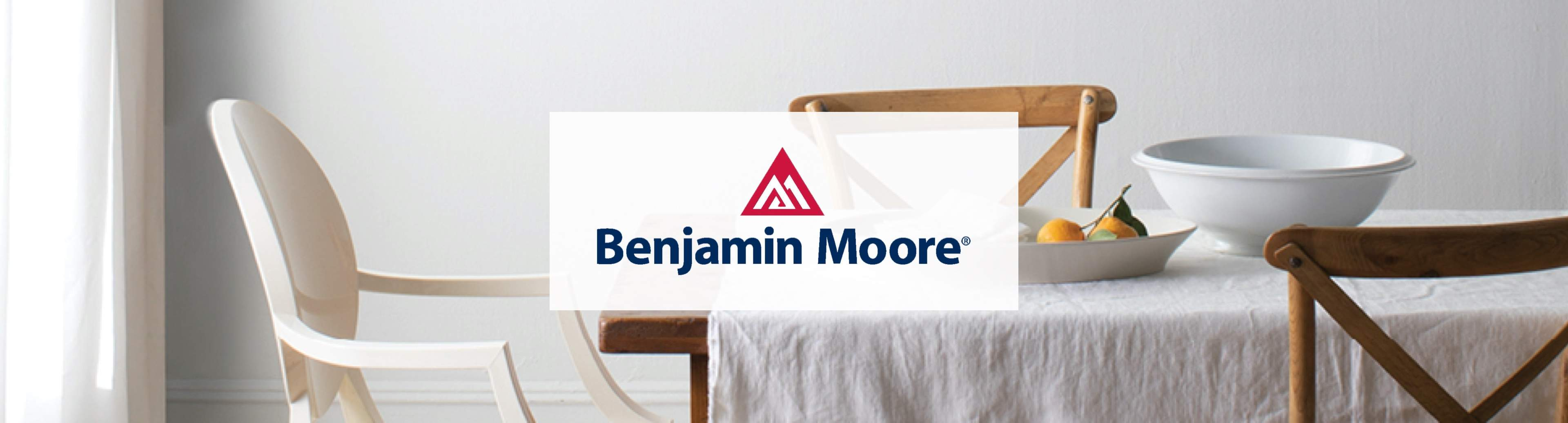 Shop Benjamin Moore at Park Supply - Benjamin Moore logo with painted dining room