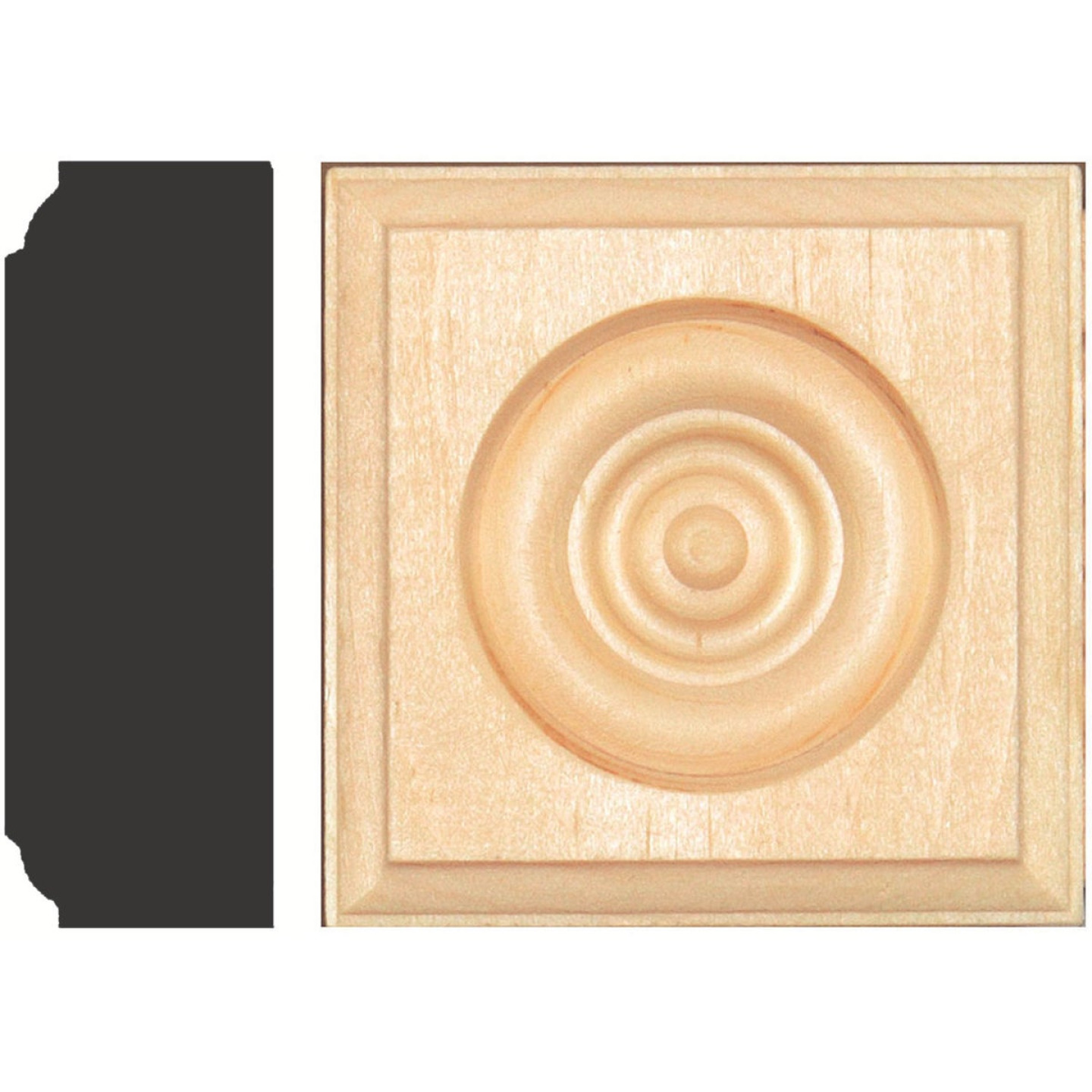House of Fara 7/8 In. x 2-1/2 In. Unfinished Pine Rosette Image 1