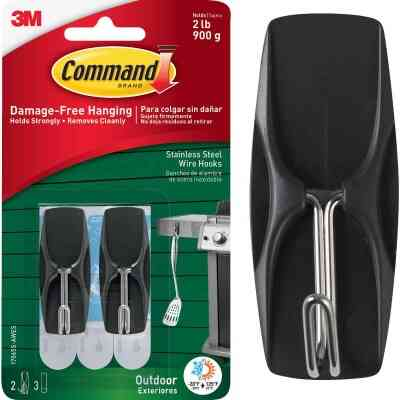 3M Command Stainless Steel Outdoor Wire Hook (2-Pack)