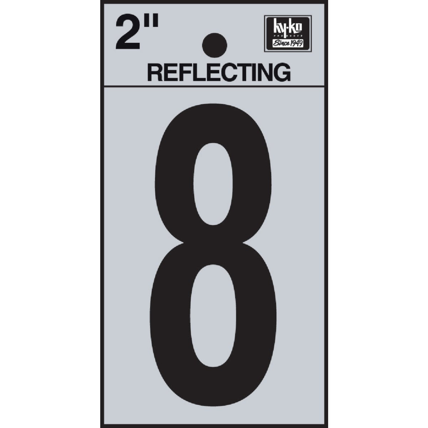 Hy-Ko Vinyl 2 In. Reflective Adhesive Number Eight Image 1