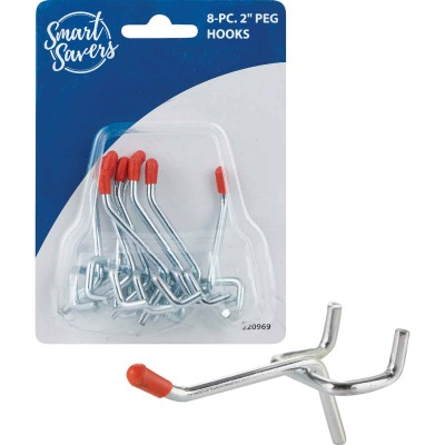 Smart Savers 2 In. Angled Pegboard Hook (8-Count)