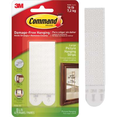 Command 3/4 In. x 3-5/8 In. White Interlocking Picture Hanger (4 Count)