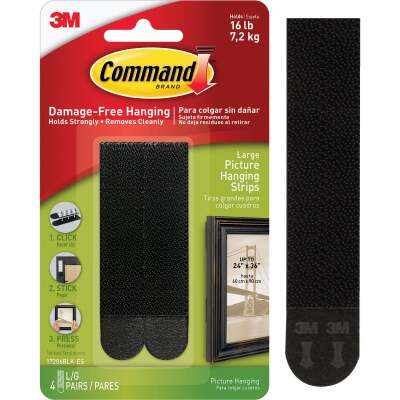 Command 1/2 In. x 3-5/8 In. Black Interlocking Picture Hanger (4 Pack)
