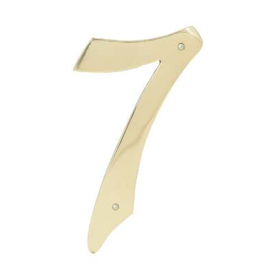 Hy-Ko 4 In. Polished Brass House Number Seven