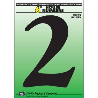 Hy-Ko 6 In. Black Gloss House Number Two