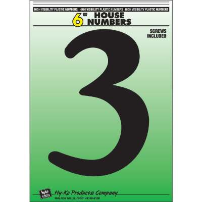 Hy-Ko 6 In. Black Gloss House Number Three