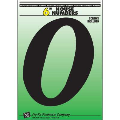 Hy-Ko 6 In. Black Gloss House Number Zero