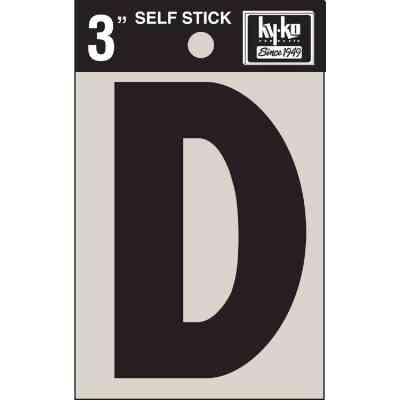 Hy-Ko Vinyl 3 In. Non-Reflective Adhesive Letter, D