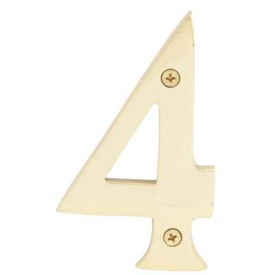 Hy-Ko 4 In. Polished Brass House Number Four