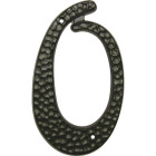 Hy-Ko 3-1/2 In. Black Hammered House Number Zero Image 1