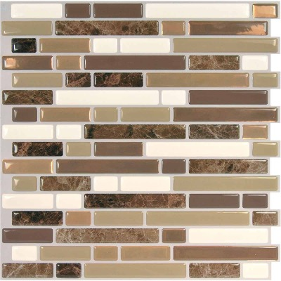 Smart Tiles Approx. 10 In. x 10 In. Glass-Like Vinyl Backsplash Peel & Stick, Bellagio Nola Mosaic (6-Pack)