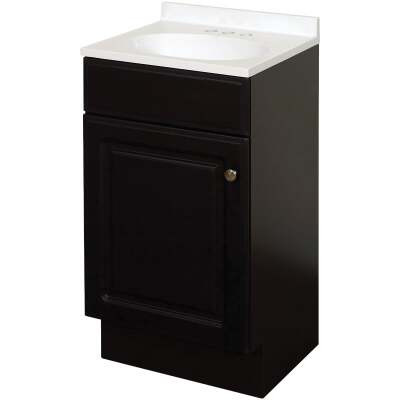 Zenith Zenna Home Espresso 18 In. W x 35 In. H x 16 In. D Vanity with White Cultured Marble Top