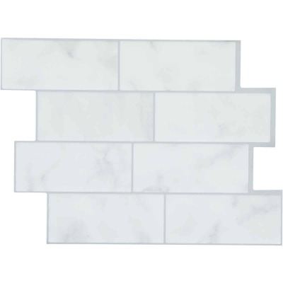 Smart Tiles Approx. 9 In. x 11 In. Glass-Like Vinyl Backsplash Peel & Stick, Metro Carrera Subway Tile