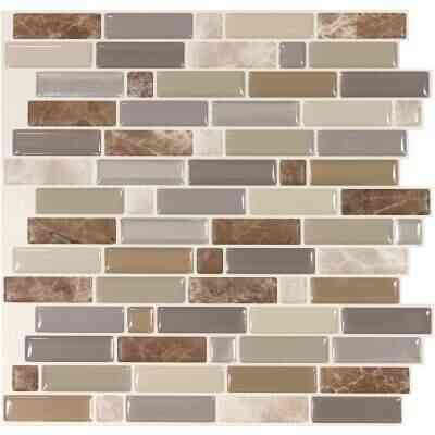 Smart Tiles Approx. 10 In. x 10 In. Glass-Like Vinyl Backsplash Peel & Stick, Crescendo Terra Mosaic (4-Pack)