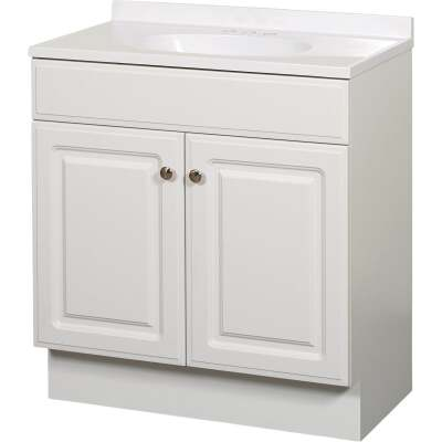Zenith Zenna Home White 30 In. W x 35 In. H x 18 In. D Vanity with White Cultured Marble Top