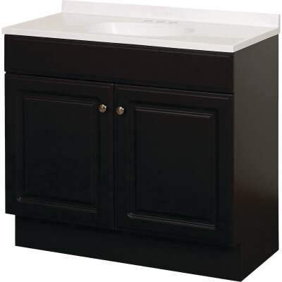 Zenith Zenna Home Espresso 36 In. W x 35 In. H x 18 In. D Vanity with White Cultured Marble Top