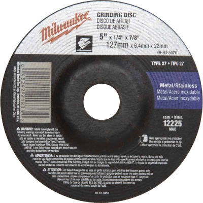 Milwaukee Type 27 5 In. x 1/4 In. x 7/8 In. Metal/Stainless Grinding Cut-Off Wheel