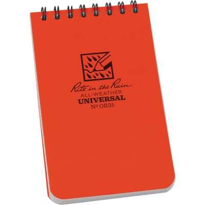 Rite in the Rain All-Weather 3 In. W x 5 In. H 50-Sheet Top-Spiral Bound Notebook, Orange