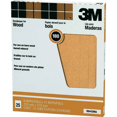 3M Pro-Pak Wood Surfaces 9 In. x 11 In. 180 Grit Very Fine Sandpaper (25-Pack)