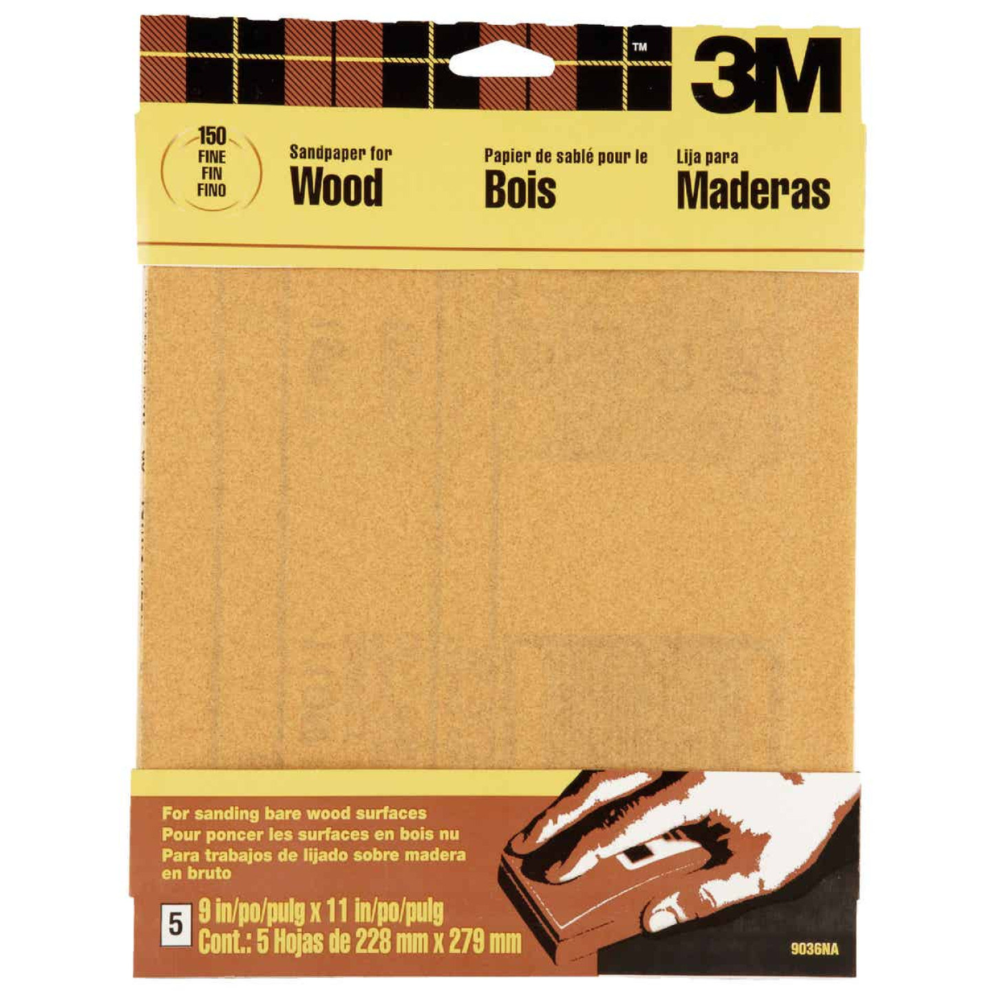 3M Bare Wood 9 In. x 11 In. 150 Grit Fine Sandpaper (5-Pack) Image 1