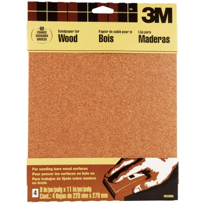3M Bare Wood 9 In. x 11 In. 60 Grit Coarse Sandpaper (4-Pack)