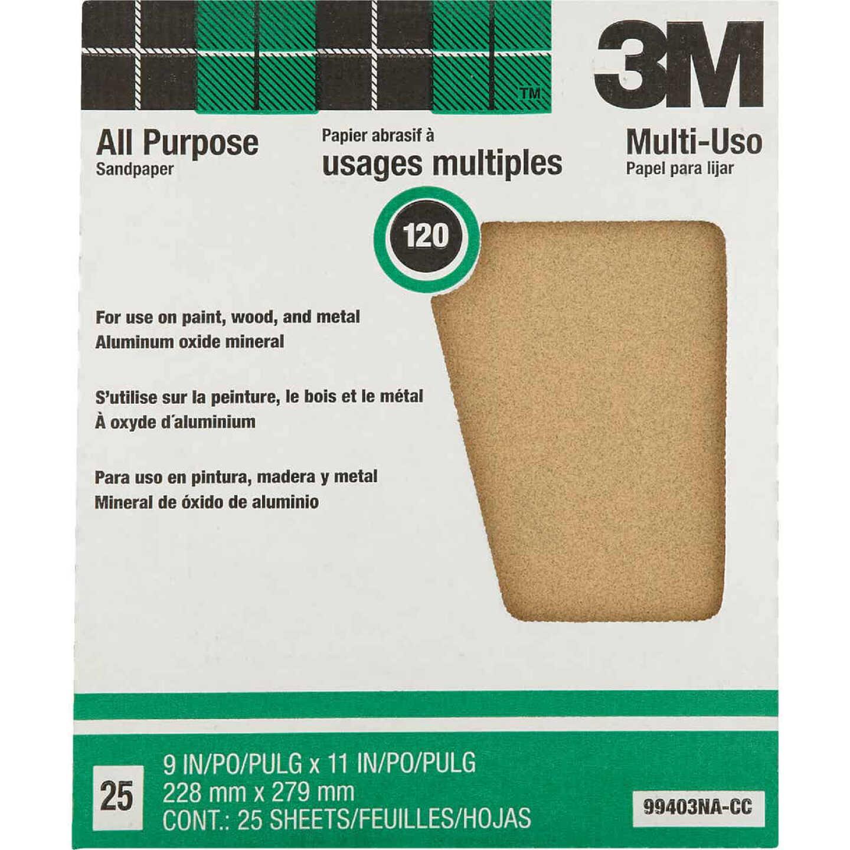 3M All-Purpose 9 In. x 11 In. 120 Grit Fine Sandpaper (25-Pack) Image 1