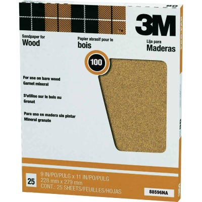3M Pro-Pak Wood Surfaces 9 In. x 11 In. 100 Grit Fine Sandpaper (25-Pack)