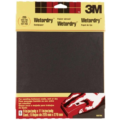3M Wetordry 9 In. x 11 In. 220 Grit Very Fine Sandpaper (5-Pack)