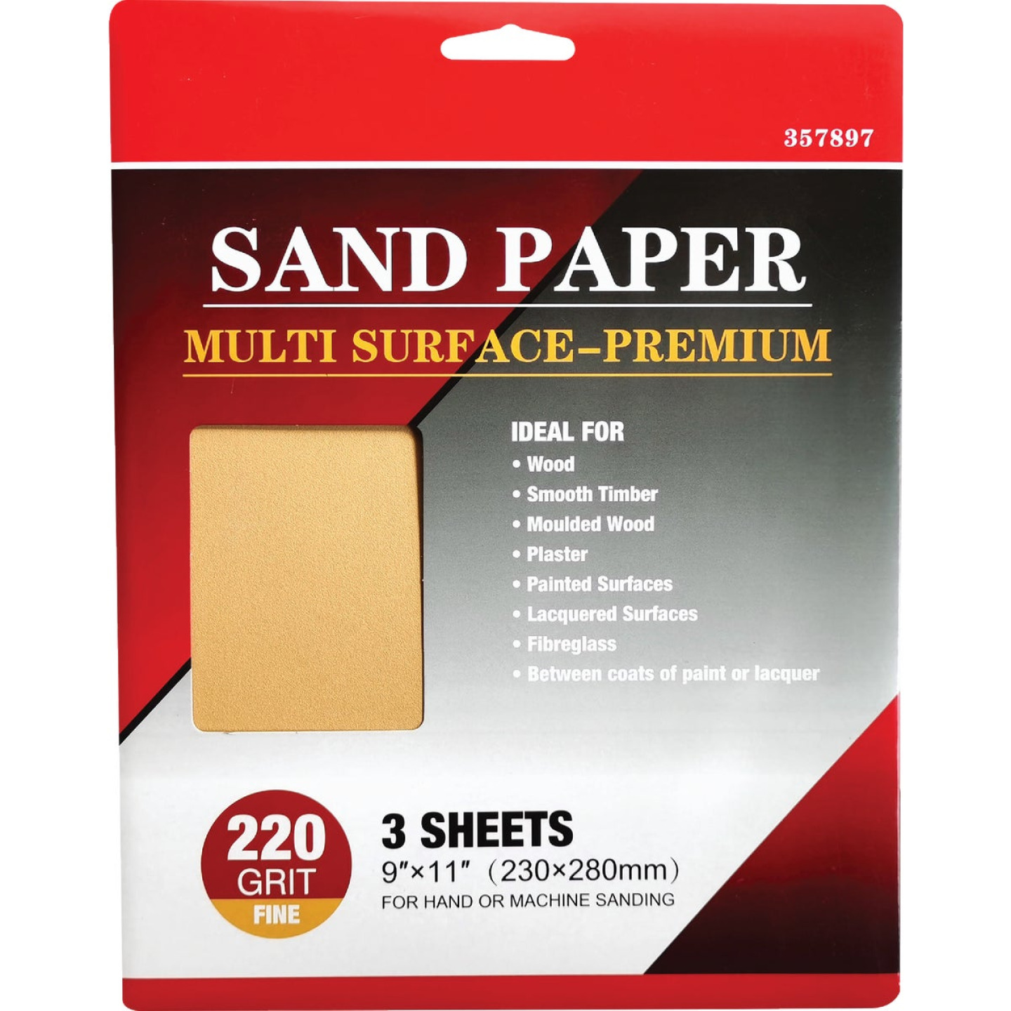 Boss Premium 9 In. x 11 In. 180 Grit Medium Sandpaper (3-Pack) Image 1