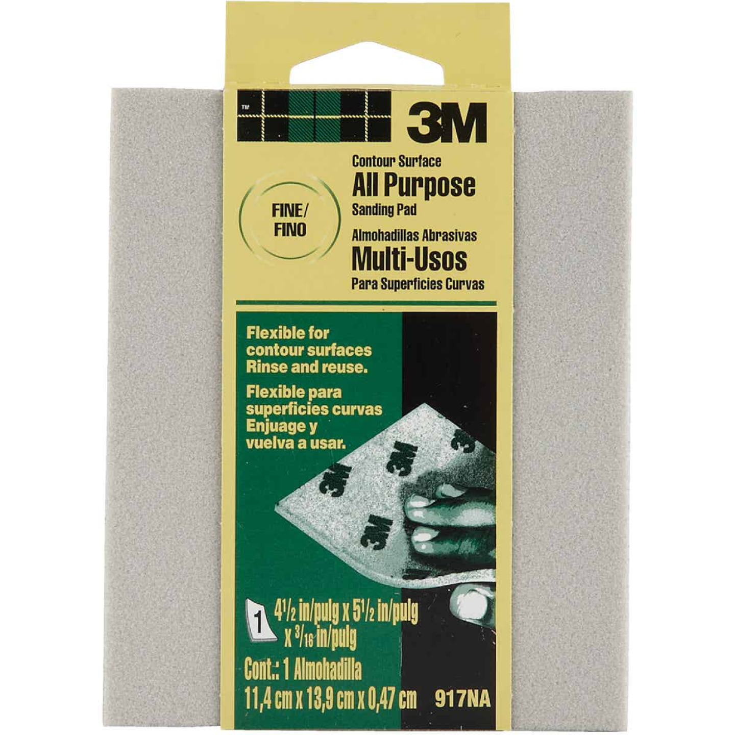 3M Contour Surface All-Purpose 4-1/2 In. x 5-1/2 In. x 3/16 In. Fine Sanding Sponge Image 1