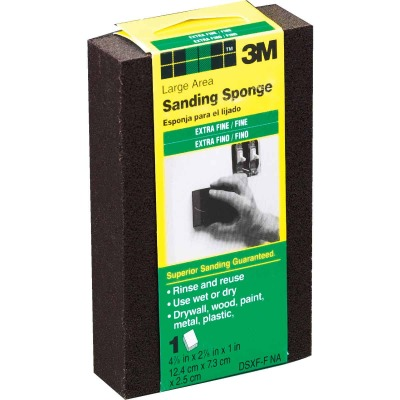 3M Large All-Purpose 2-7/8 In. x 4-7/8 In. x 1 In. Extra Fine/Fine Sanding Sponge