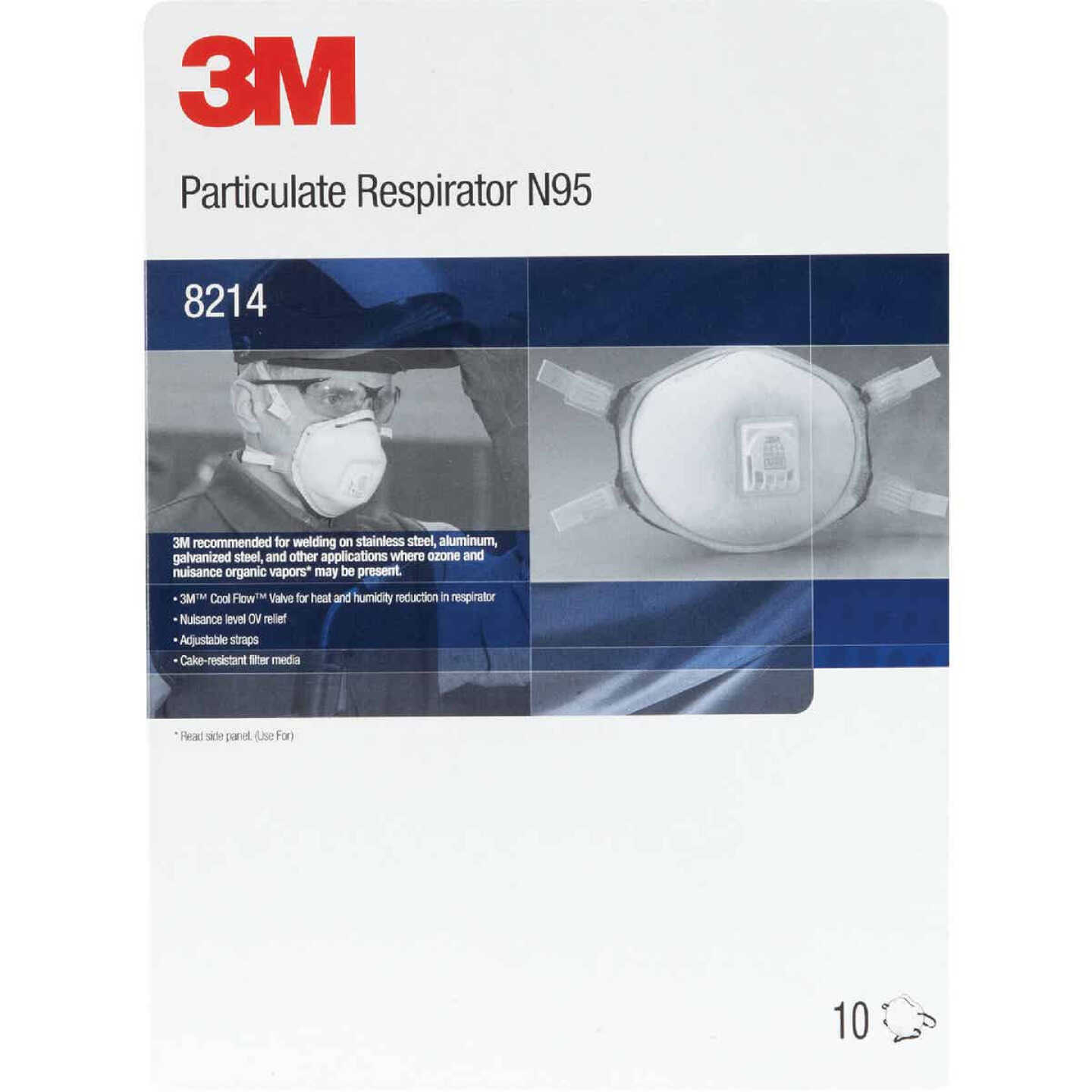 3M N95 Particulate Welding Respirator with Nuisance Level Organic Vapor Relief (10-Pack) Image 2