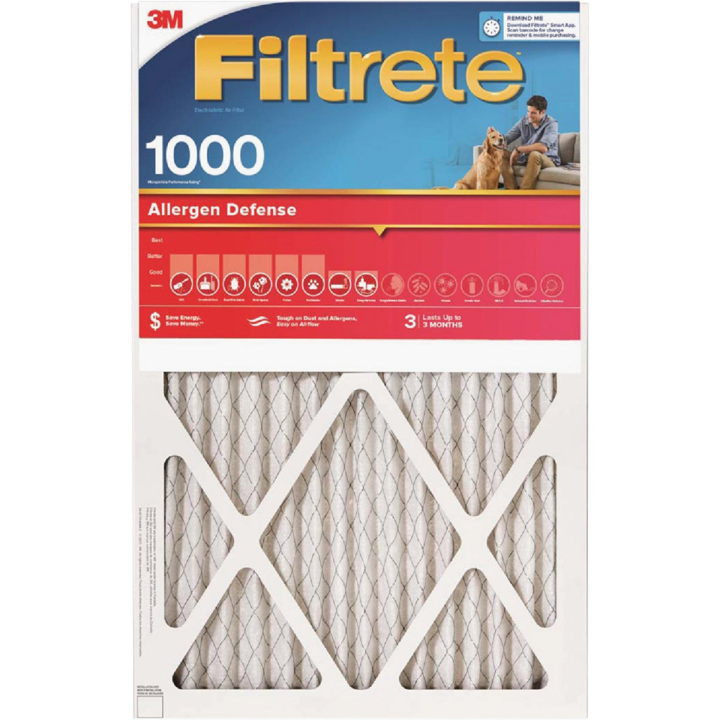 3M Filtrete 12 In. x 20 In. x 1 In. Allergen Defense 1000/1085 MPR Furnace Filter Image 1