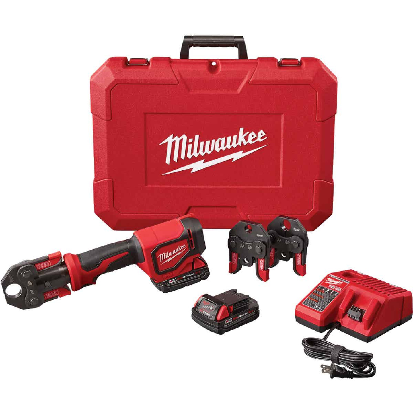 Milwaukee M18 18 Volt Lithium-Ion Short Throw Cordless Press Tool Kit w/3 PEX Crimp Jaws Image 1
