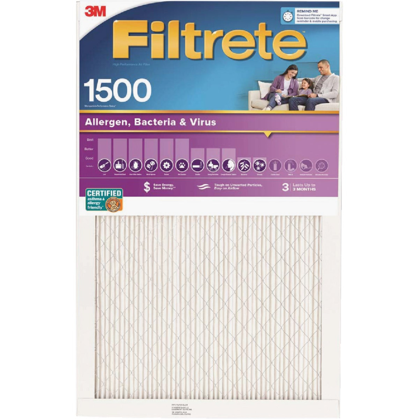 3M Filtrete 20 In. x 20 In. x 1 In. Ultra Allergen Healthy Living 1550 MPR Furnace Filter Image 1