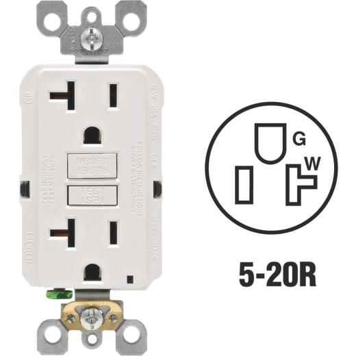 Leviton SmartlockPro Self-Test 20A White Commercial Grade Rounded Corner 5-20R GFCI Outlet