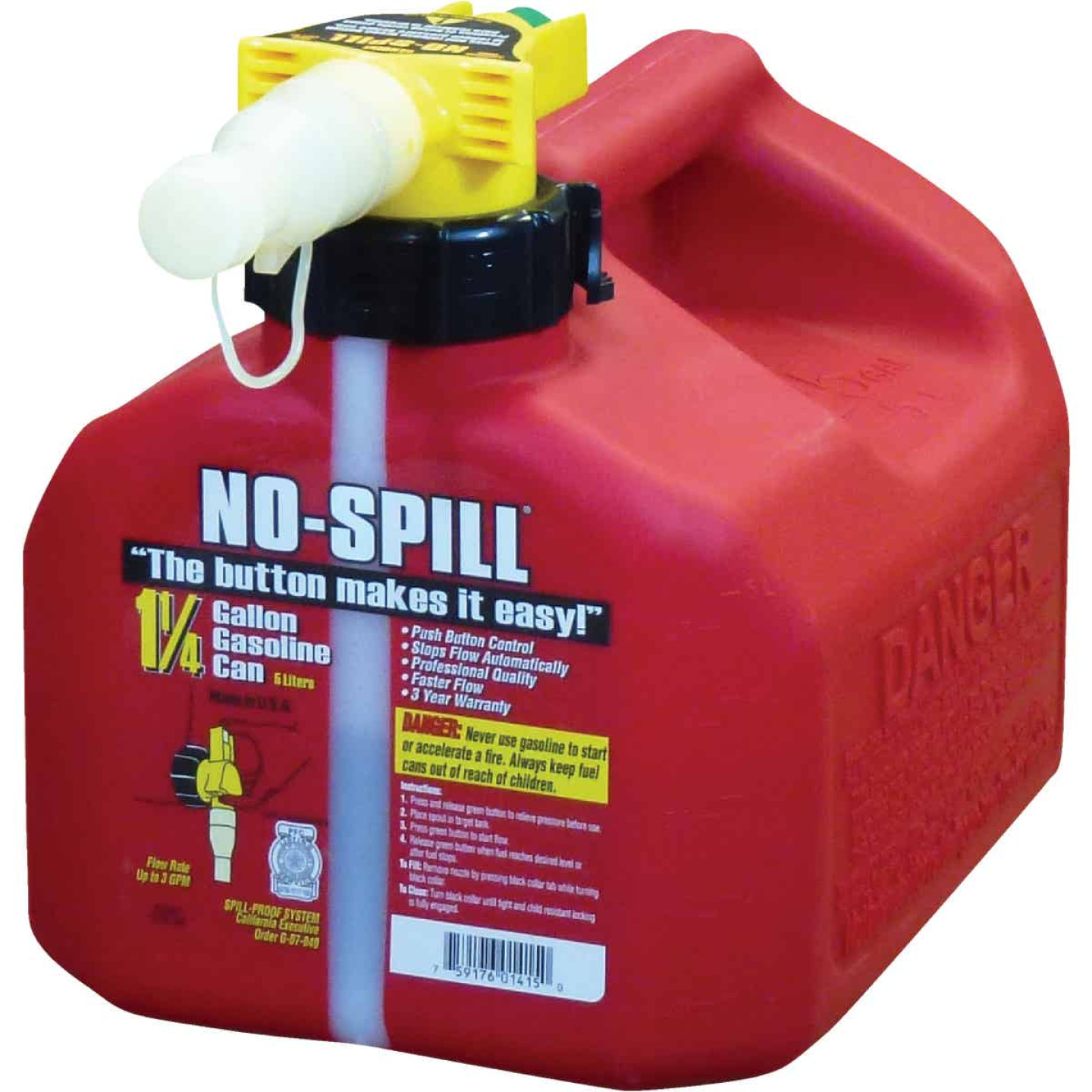 No-Spill 1-1/4 Gal. Plastic Gasoline Fuel Can, Red Image 1
