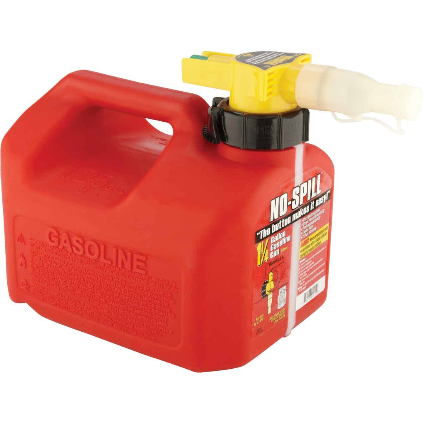 No-Spill 1-1/4 Gal. Plastic Gasoline Fuel Can, Red Image 2