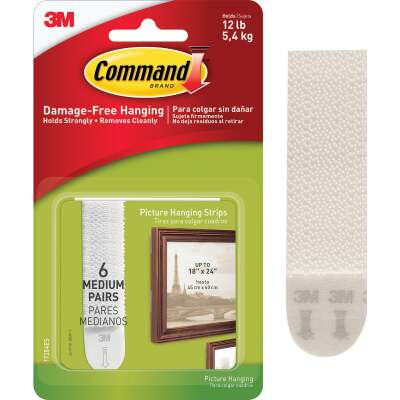 Command 3/4 In. x 2-3/4 In. White Interlocking Picture Hanger (12 Count)