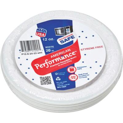 American Performance 12 Oz. White Plastic Bowls (25 Count)