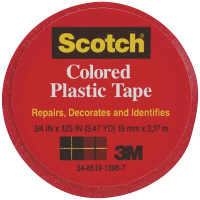 Scotch 3/4 In. Red Colored Plastic Tape