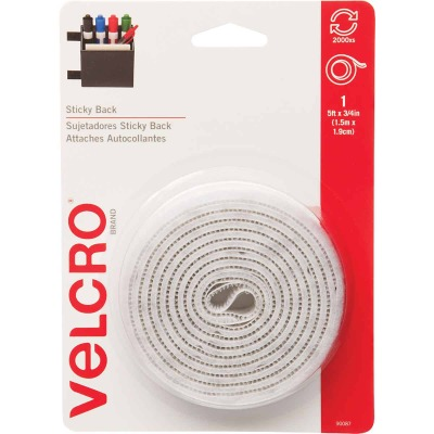 VELCRO Brand 3/4 In. x 5 Ft. White Sticky Back Reclosable Hook & Loop Roll