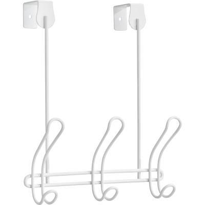iDesign Classico Over-The-Door White 3-Hook Rail