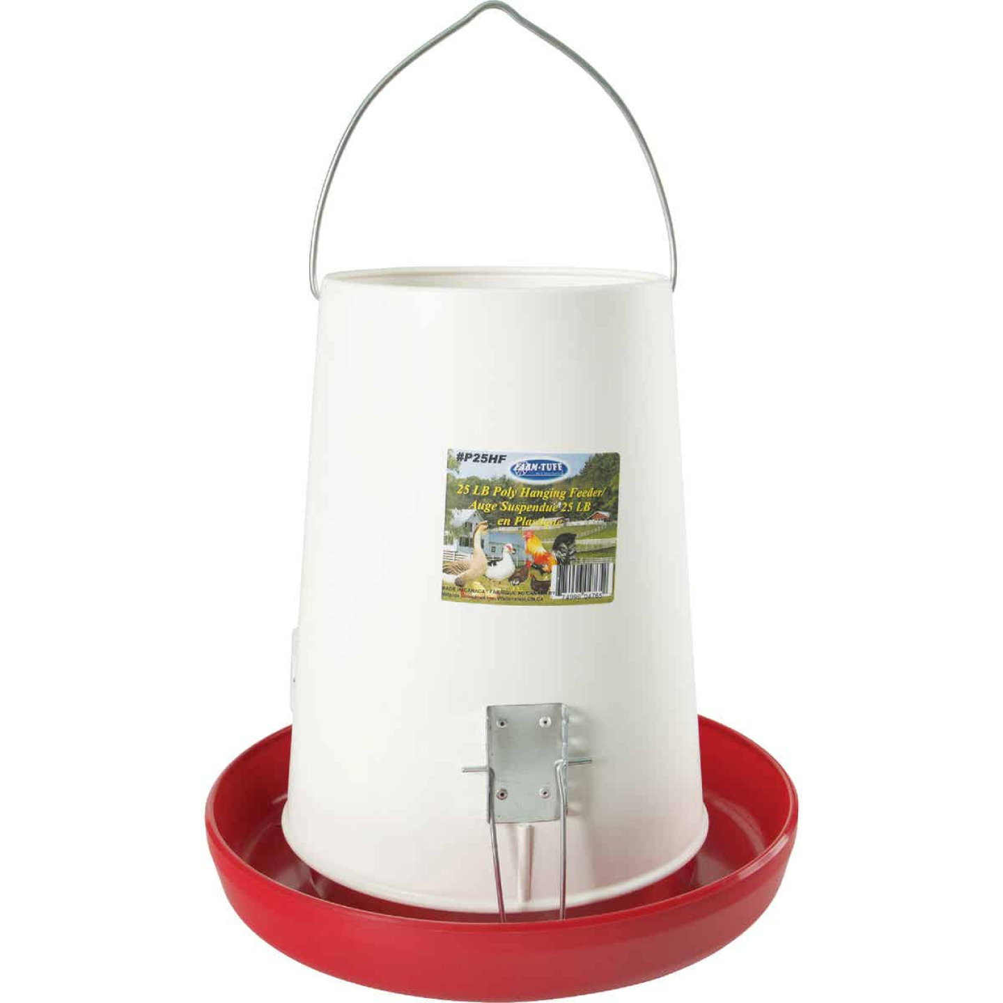 Farm-Tuff 25 Lb. Capacity Hanging Plastic Poultry Feeder Image 2