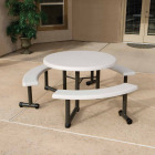 Lifetime 44 In. Almond Round Picnic Table with 3 Benches Image 2
