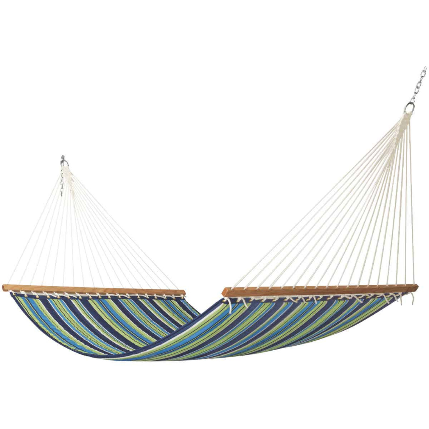 Castaway Blue & Green Striped Polyester Quilted Hammock Image 1