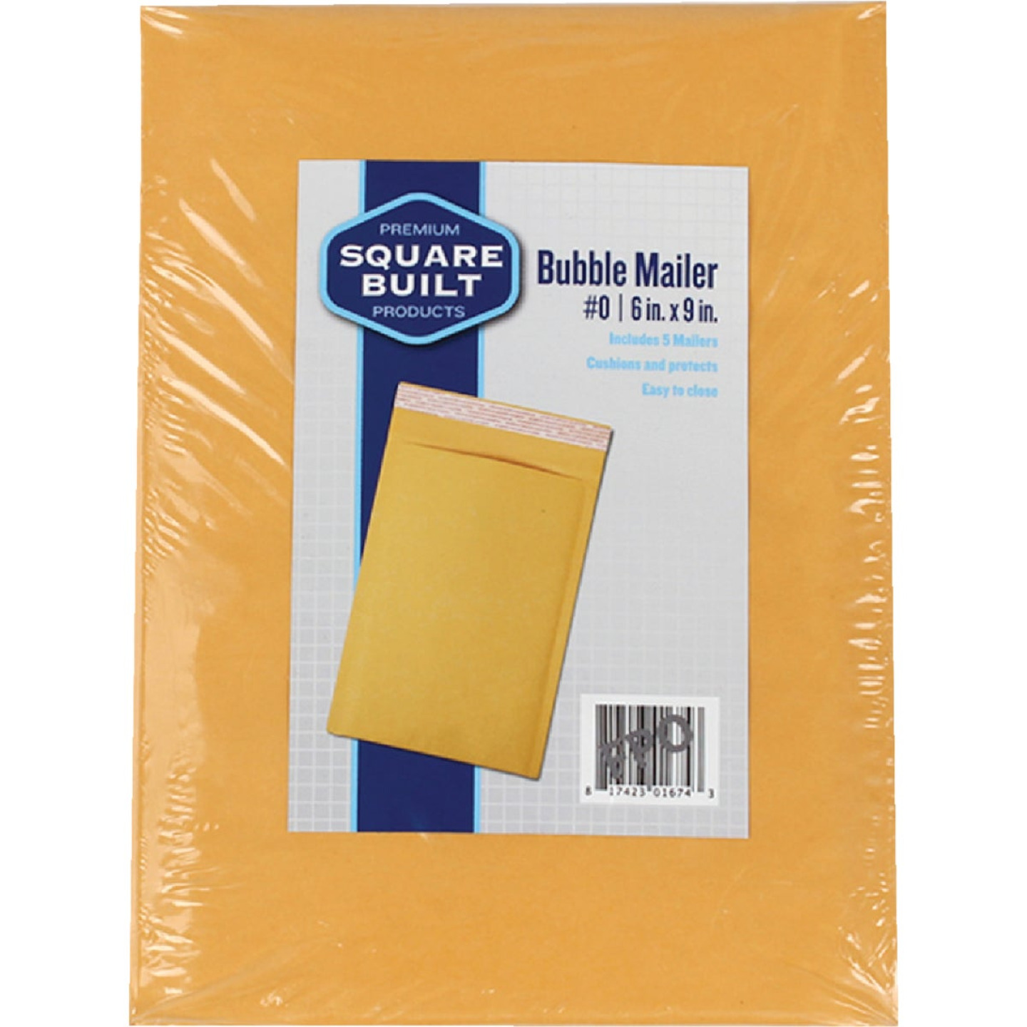 Square Built 6 In. x 9 In. #0 Bubble Mailer (5-Pack) Image 1